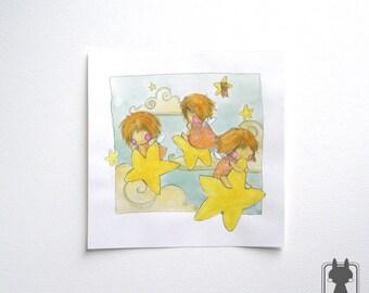 Fairies on stars - fairy art - fantasy illustration - original art - nursery decor