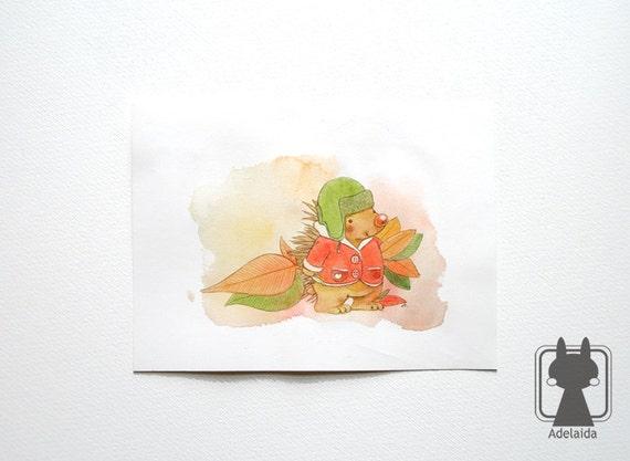 Original hedgehog illustration - messenger of Autumn - watercolors and colored pencils