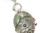 riveted horse emblem and sea green jasperware tin necklace 'Rhiannon' vintage assemblage