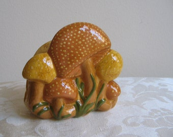SALE Vintage Mushrooms Ceramic Napkin Holder, Mustard Yellow Caramel, Funky Fungi Shrooms Kitschy Cool 1970's