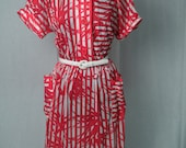 Vintage 80s Does 40s Day Dress: Red and White Print by Darian, M-L