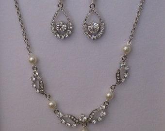 Art Deco Swarovski rhinestone and ivory pearl necklace and earring set - rhodium