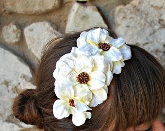 cream velvet flower headband for women, teens, girls, gift for her: isabelle