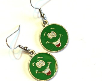 Green Smiley Face Enamel Charm Earrings Happy Face Earrings - kids dress up earrings - 925 sterling silver, clip on available