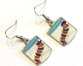Bug in a Bag Enamel Charm Earrings - Kids jewelry - caterpillar earrings