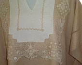 Linen & Lace Tunic - Woman's Top - Repurposed Linens - Hand Stitched - Free Size