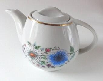 Vintage Two Cup Mod Floral Teapot