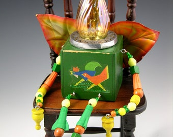 "OOAK Folk Art Mixed Media Assemblage Junk Fairy, ""George"""