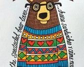 Spectacled Bear in Spring Jumper -- Hand Painted Limited Edition Gocco Print