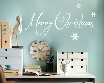 Wall decals MERRY CHRISTMAS & SNOWFLAKES Holidays Christmas interior decor by Decals Murals (10x28)