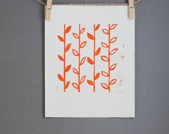 Orange Modern Linocut art PRINT Orange Flower Stems Linoprint 8x10