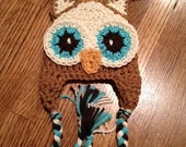 Jailey Bugs Custom Crochet Little Cream, Brown, and Turquoise Owl. Hat/Beanie. So Cute.... Made to order