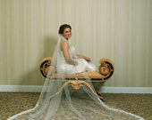 Wedding Veil - Cathedral Length with Beaded Alencon Lace At Bottom Edge - Ivory