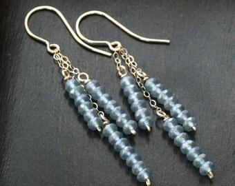Long beaded tassle earrings, grey Czech glass, 14k gold filled, chain, dangle earrings, blue, gray, Mimi Michele Jewelry