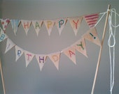 Cake Bunting brown paper DIY personalize any occasion rustic kraft pennant flags Potluck, Hostess Gift - Rustic Paper to decorate yourself