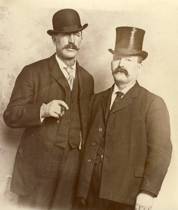 CIGAR Smoking Men in TOP HAT and Bowler Hat with Large Moustaches Photo Postcard Minneapolis Minnesota Circa 1905