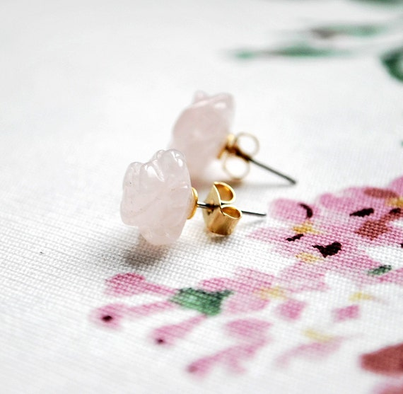 Pink Quartz Earrings Posts, Gemstone posts, Rose quartz studs, Rose stud earrings, Romantic small earrings, Delicate small gemstone earrings