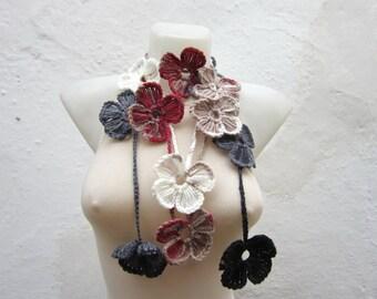 Women Lariat Necklace, Crochet Scarf, Flower Necklace, Floral Jewelry, Autumn Accessories, Grey cream burgundy brown