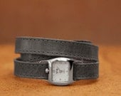 Grey triple wrap leather watch, ladies' grey watch, Mother's Day Gift  - the TWIST