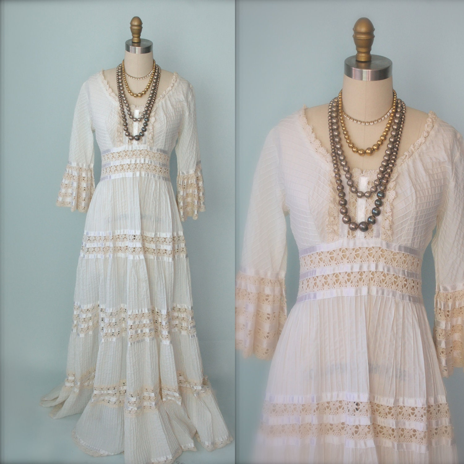 Vintage 50s mexican dress 1950s mexican wedding dress prom for Dresses for mexico wedding