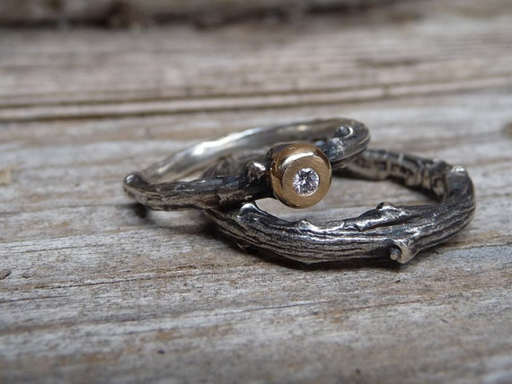Engagement/wedding twig ring Stackable Sterling silver with diamond and 14k yellow gold