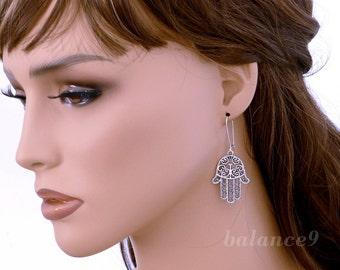 Hamsa Hand Earrings, amulet dangle earrings, Antique silver filigree charm kidney drop, Fatima protect jewelry, by balance9