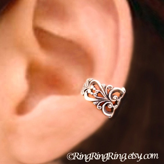 925. Princess Filigree - Sterling Sliver ear cuff earring jewelry - non pierced earcuff clip 112212
