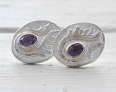 Purple Earring, Amethyst Earring, Sterling Silver Studs, Contemporary Modern Jewelry, February Birthstone, Gift for her, Summertime