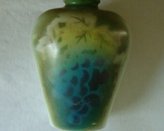 VINTAGE Victorian Hand Painted Milk Glass Bottle Vase Airbrush Quality Blues Greens Yellow Art Glass Large Vase Cottage Decor French Cottage