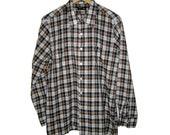 JC Penney Towncraft Plaid Button Up M Medium Cotton Poly Shirt 15-15.5 Men