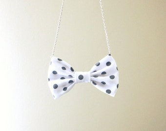 Polka Dot Black and White - Bow Tie Necklace, Casual Bowtie For Women
