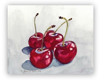 Cherry Watercolor Painting - Four Red Cherries no. 2, Watercolor Art Print, 8x10