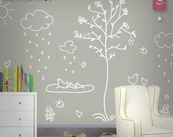 New Orginal Design Children Wall Decals with Birds and Trees - 0102