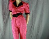 pink grid jumpsuit