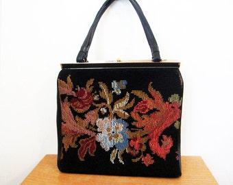 1960s Needlepoint handbag designer 60s black and floral purse Boho Large size
