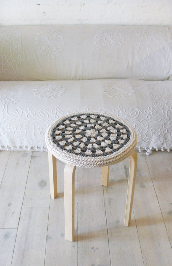 Crochet Stool Cover - greey and ecru