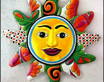 "Metal Art - Sun Metal Wall Art, Sun Design, 24"" Hand Painted Metal Sun Wall Hanging - Recycled Haitian Steel Drum, Garden Art - M-101-OR-24"