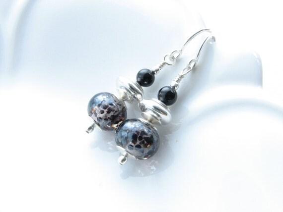 Black silver dangle earrings metallic sterling silver glass earrings jewelry