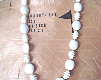 White Vintage Beaded Necklace * On Sale!