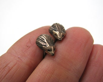 Hedgehog earrings bronze & surgical steel handsculpted