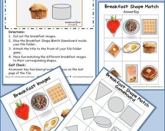 Breakfast Shape Match File Folder Game
