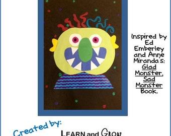 Glad Monster, Sad Monster Art Lesson for Kids with Templates