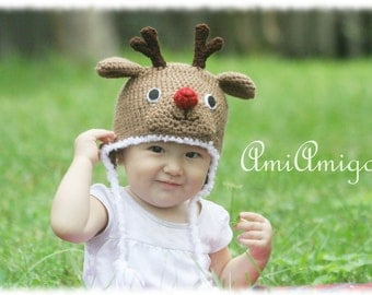 Crochet Red Nose Reindeer hat ( 6-12m)