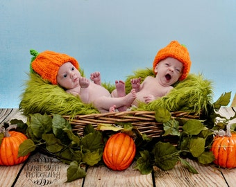Twin Pumpkin Hats ,Twin Crochet Pumpkin ,Baby Twin Hats, Fall Twin Hats ,Thanksgiving Twin Hats ,Twin Pumpkin Photo Prop, Cbbcreations