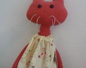 Kitty Cat Handmade Organic Dyed Raw Silk Stuffed Animal