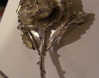 Monet Rose Brooch Vintage costume jewely Signed Monet Silver tone Rose Brooch