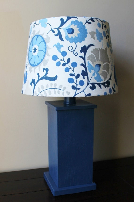 Denim Blue Lamp with Modern Floral Shade - OOAK