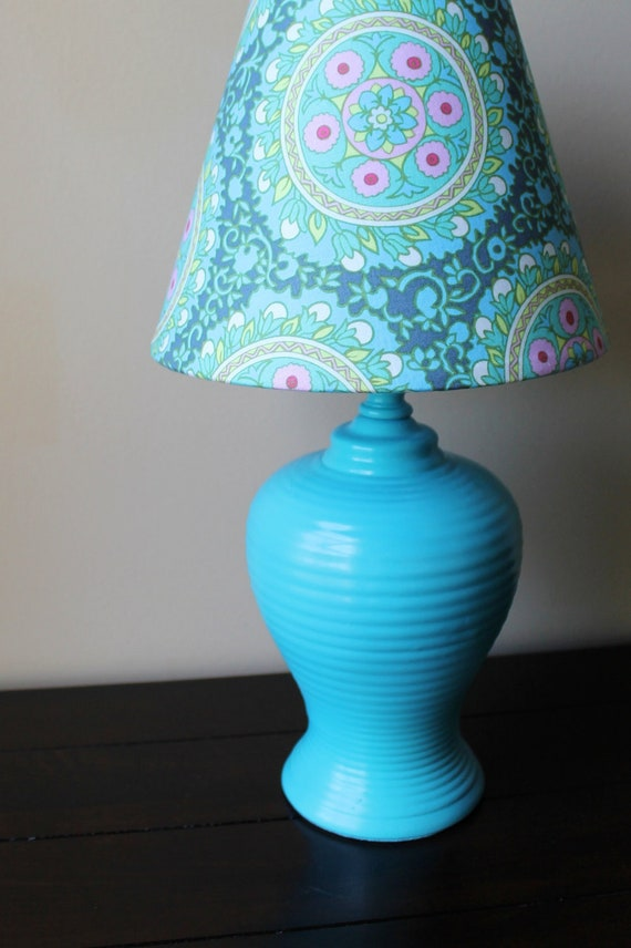 Teal Lamp with Amy Butler Fabric Shade - OOAK