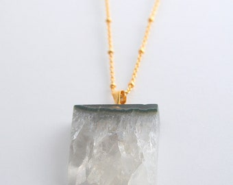 Amethyst Druzy LONG Necklace
