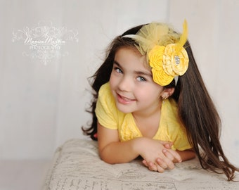 Couture Baby Headband, Vintage Inspired Holiday Headband Folded Rosette with Blingy Button Detail Fascinator Photo Prop NO.12-57